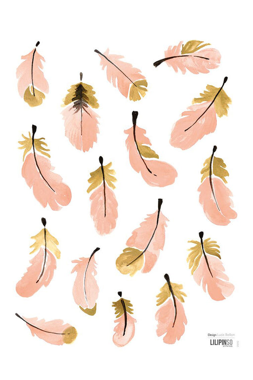 Pink Gold Feathers Vinyl Decal, Decor, Lilipinso - 3LittlePicks