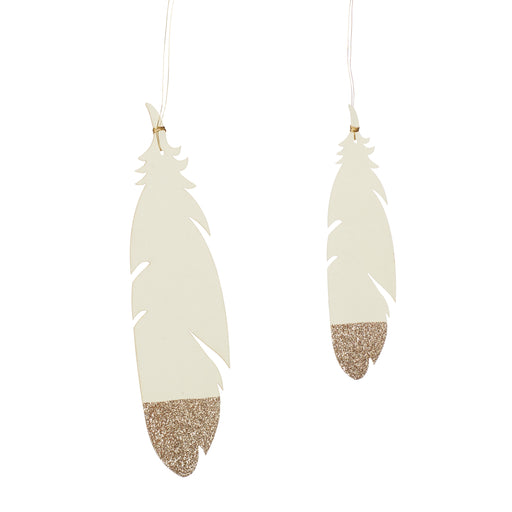 Golden Glitter Paper Feather Ornaments