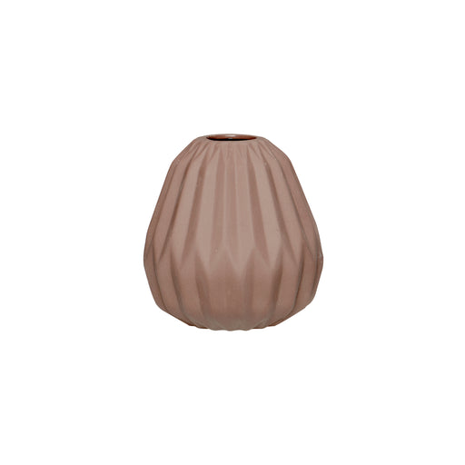 Rose Brown Grooved Vase, Vase, Hübsch - 3LittlePicks