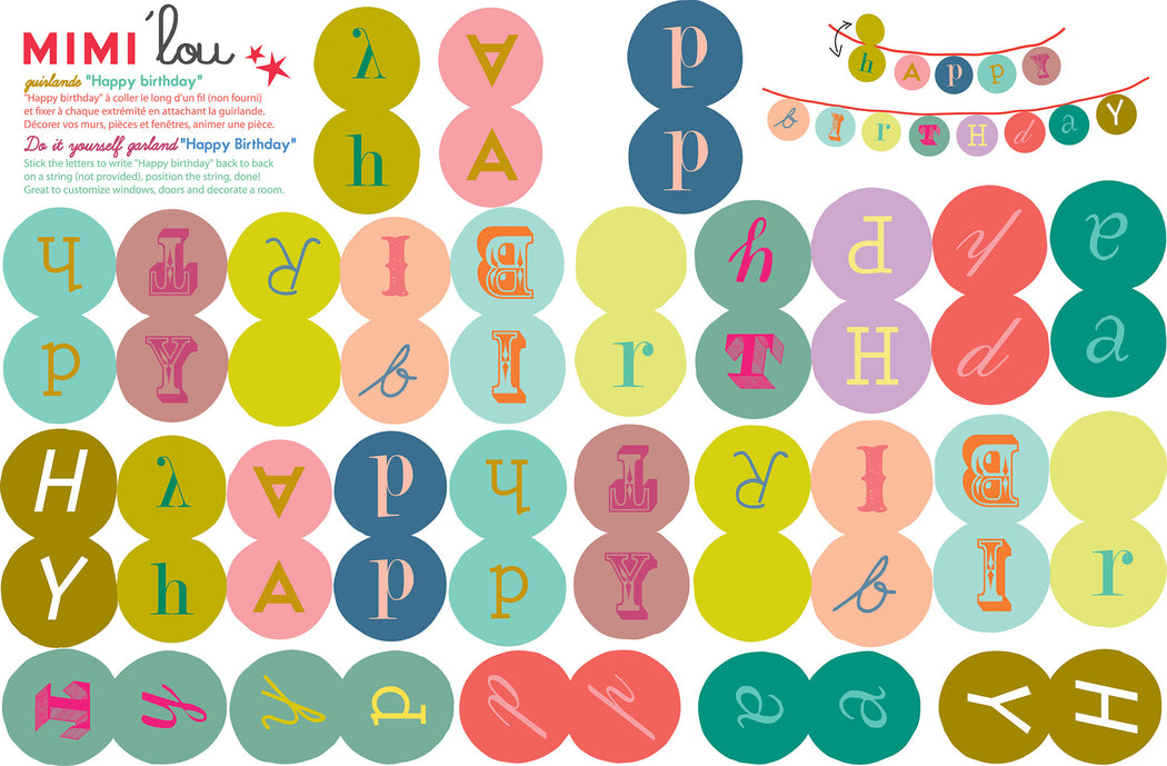 Birthday Party Garland Kit, Partyware, MIMI' lou - 3LittlePicks