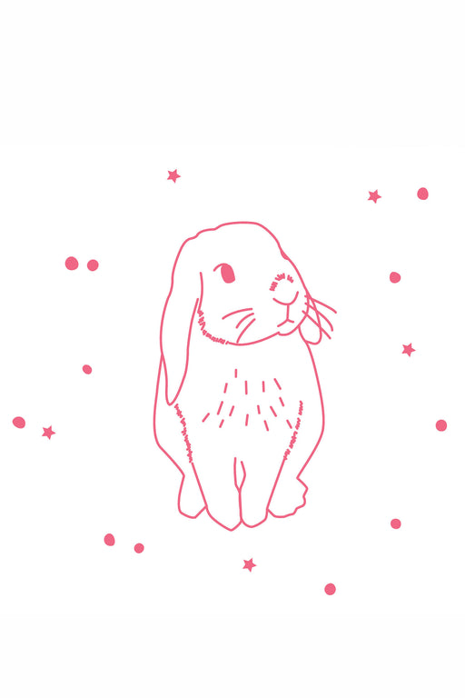 Neon Pink Rabbit Vinyl Stickers