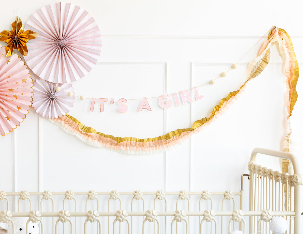 Baby Pink and Gold Crepe Paper Streamer