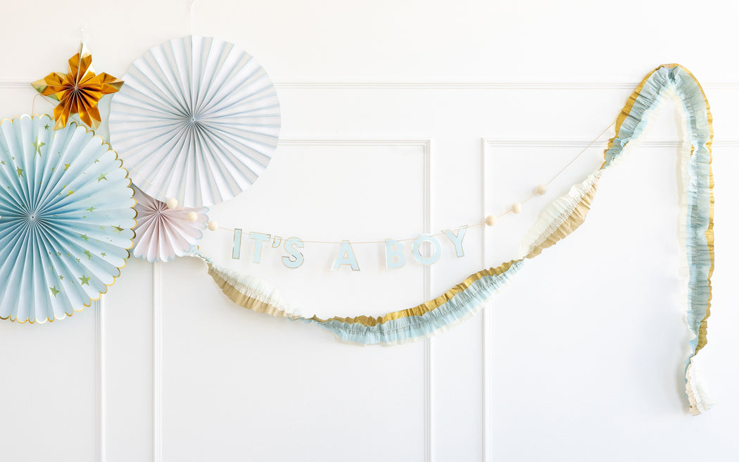 Baby Blue and Gold Crepe Paper Streamer