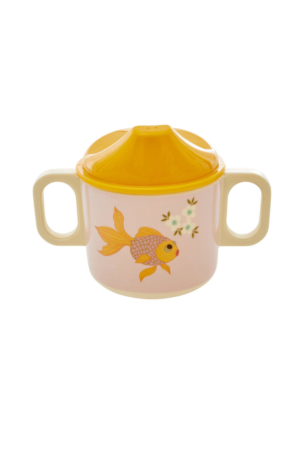 Gold Fish Print 2 Handle Melamine Baby Cup