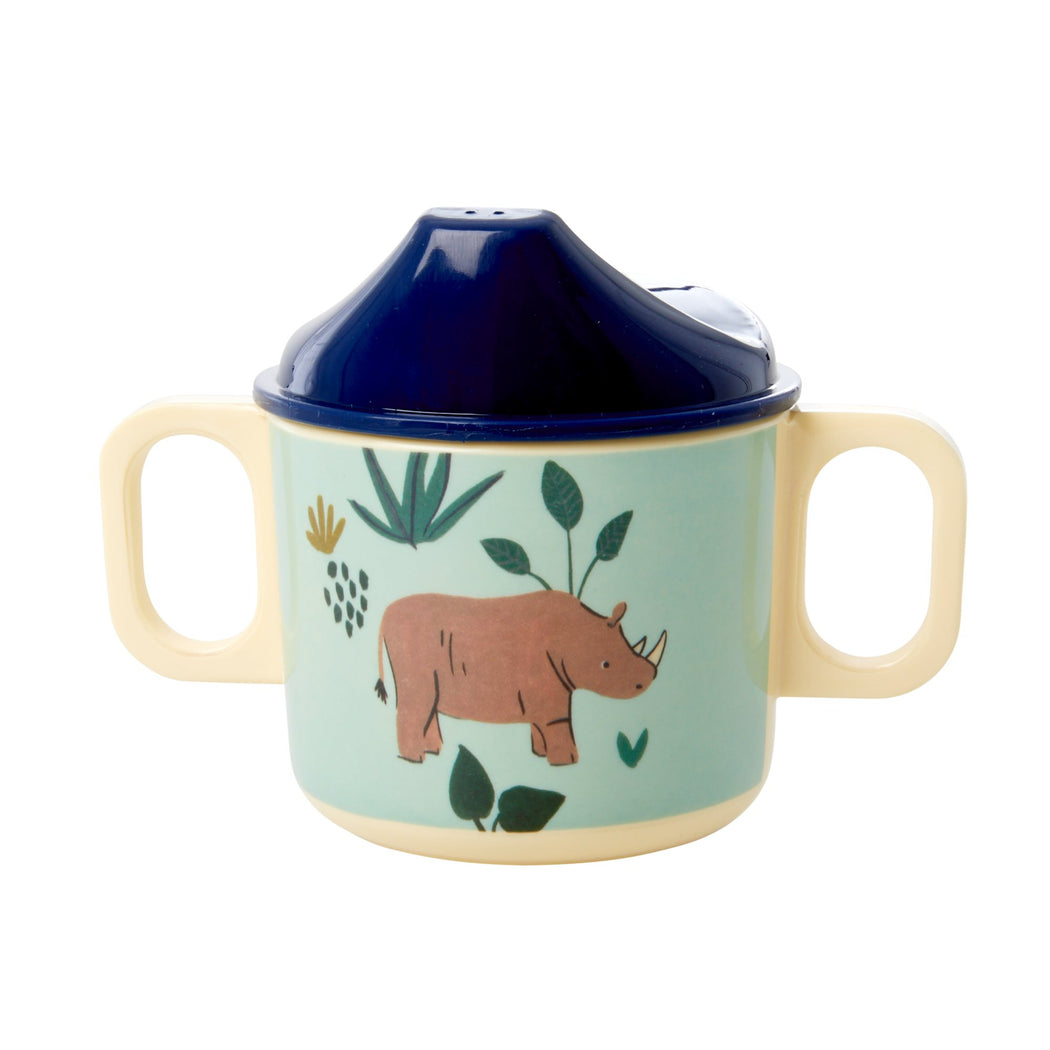 Jungle Animal 2-Handle Baby Cup Blue