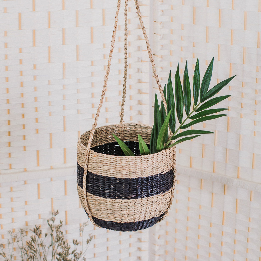 Black Stripe Seagrass Hanging Planter, Storage, Sass & Belle - 3LittlePicks