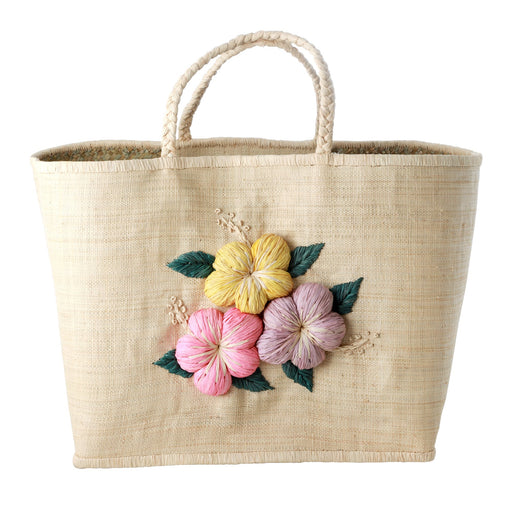 Fat Flowers Embroidery Large Raffia Shopper, Lifestyle, RICE - 3LittlePicks