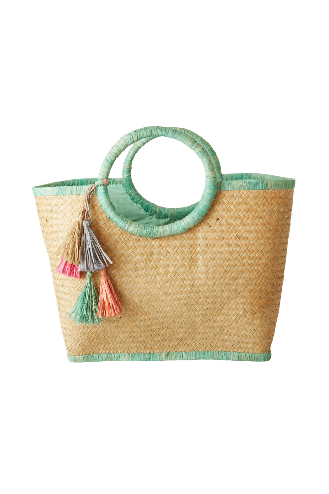 Raffia Bag with Pom Poms Sage Green