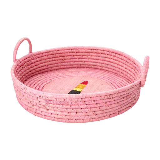 Large Pink Raffia Bread Basket