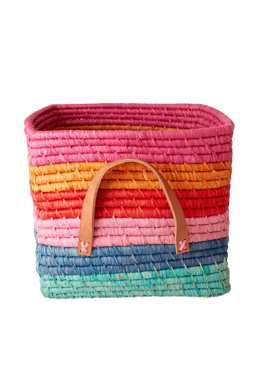 Choose Happy Stripes Raffia Square Basket with Leather Handles