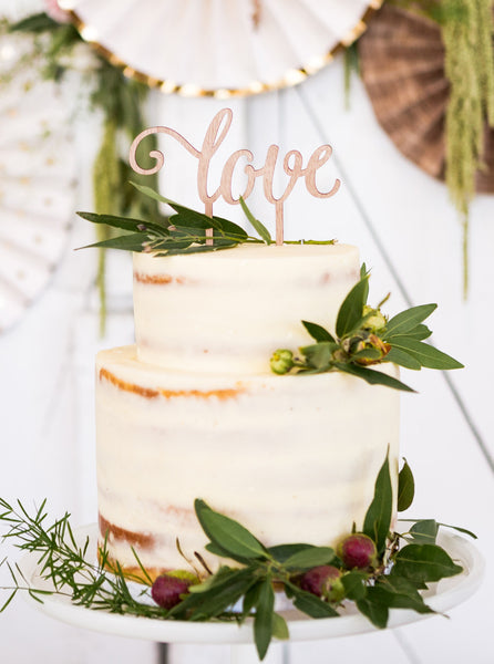 Botanical Love Wood Cake Topper
