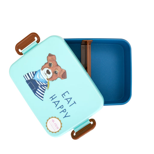 Farm Animal Lunch Box Blue, Utensils, RICE - 3LittlePicks