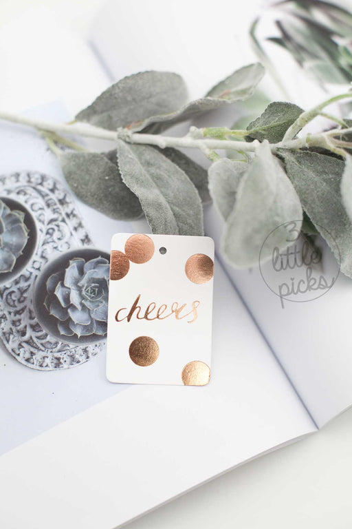 Cheers Gift Tag, Stationary, Blushing Confetti - 3LittlePicks