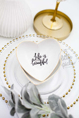 Golden Rim Heart Trinket Tray