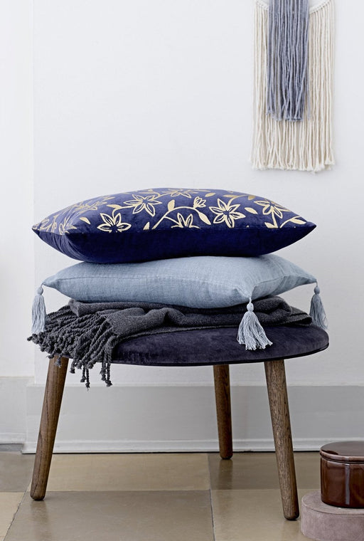 Blue Tassel Cushion, Cushion, Bloomingville - 3LittlePicks