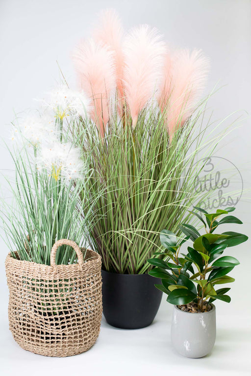 Artificial Potted Coral Pink Reed Grass, Decor, 3littlepicks - 3LittlePicks