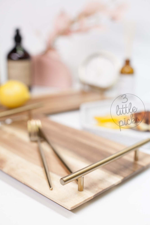 COMING BACK: Golden Handle Acacia Trays, Decor, 3littlepicks - 3LittlePicks