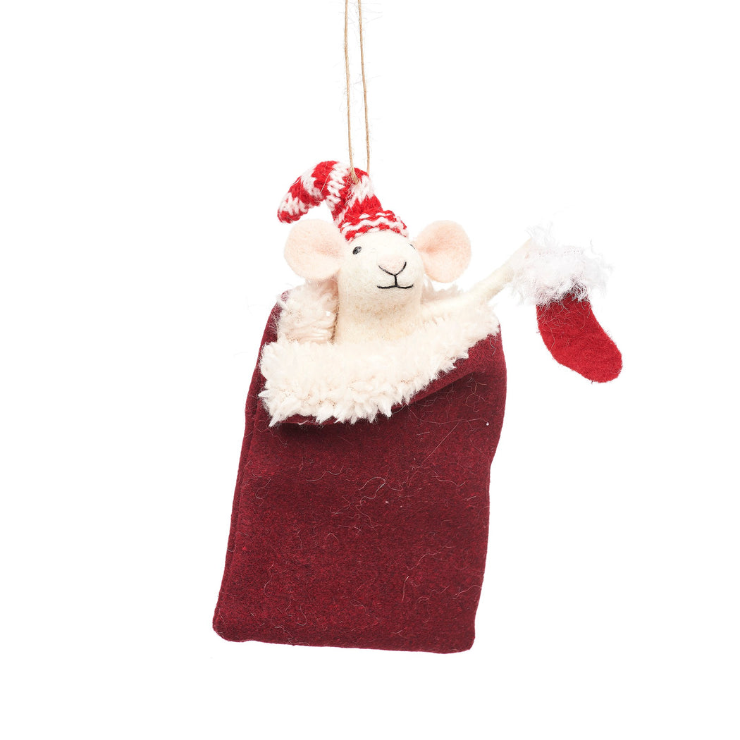 Mouse in Sleeping Bag Felt Decoration