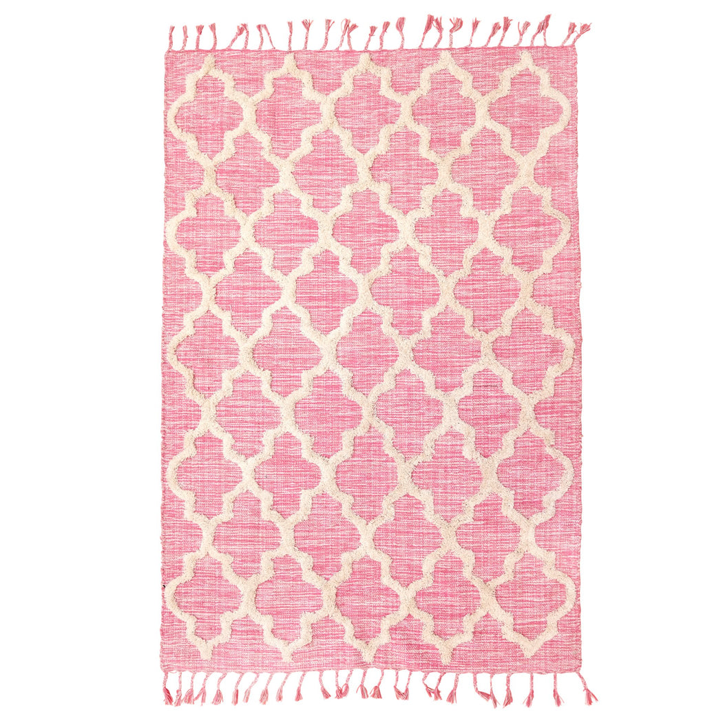 Pink Cotton Carpet With Geometric Pattern