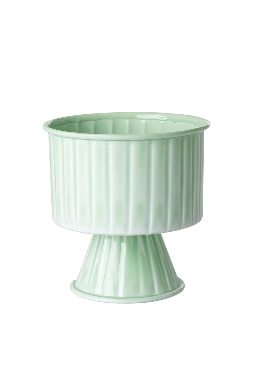 Medium Sage Green Metal Flowerpot