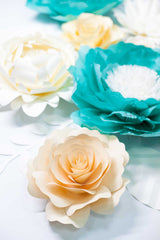 Turquoise and Ivory Giant Paper Flowers