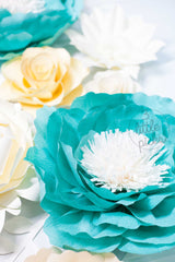 Turquoise and Ivory Giant Paper Flowers, Partyware, 3LittlePicks - 3LittlePicks