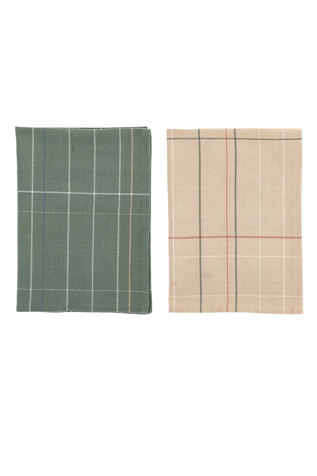 Checkered Green and Apricote Kitchen Towel, Textile, Bloomingville - 3LittlePicks