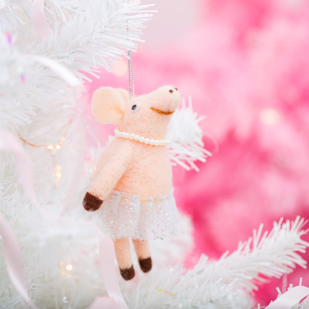 Ballerina Pig Hanging Felt Decoration