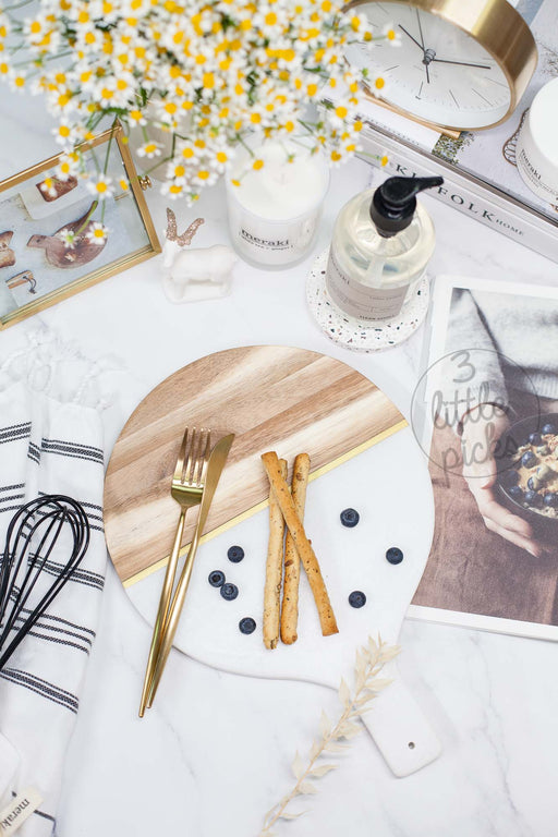 COMING BACK: Marble and Wood Round Board, Serveware, 3littlepicks - 3LittlePicks