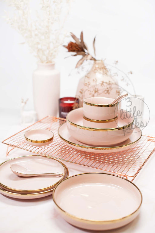 Golden Rim Pastel Peach Pink Dining, Dining, 3littlepicks - 3LittlePicks