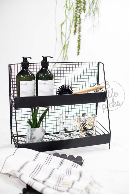 Sleek Black Wired 2-Tier Display Rack