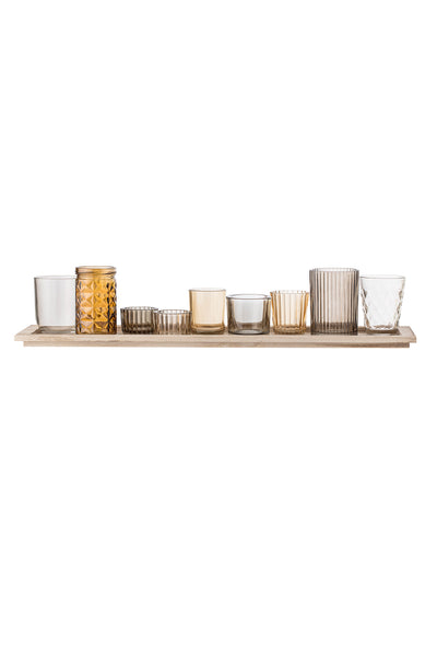 PRE-ORDER: Brown Glass Votive Long Tray