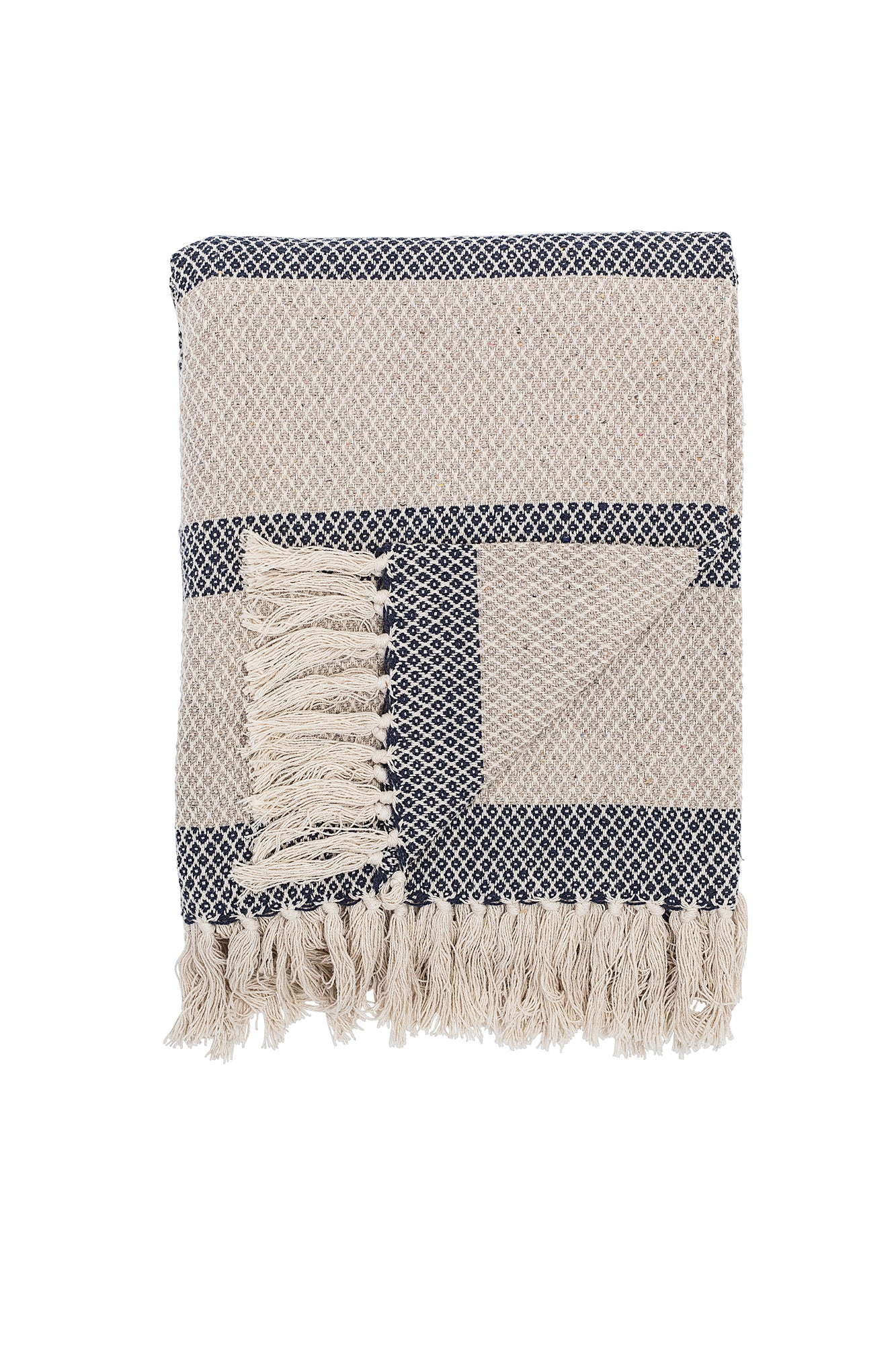 Cream Blue Throw, Textile, Bloomingville - 3LittlePicks