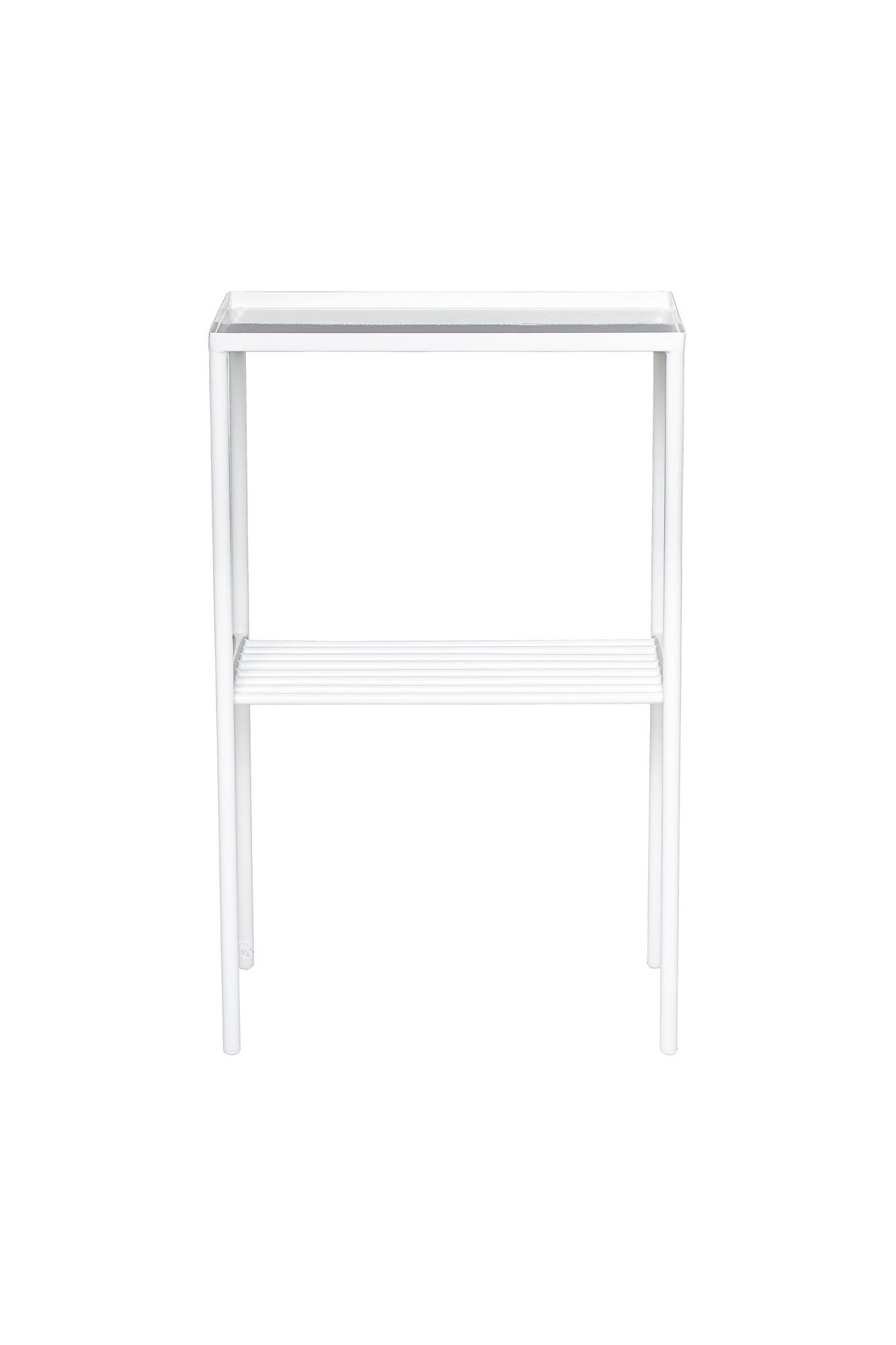 White Grid Side Table