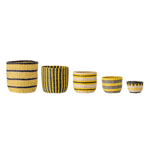 Yellow Patterned Seagrass Basket