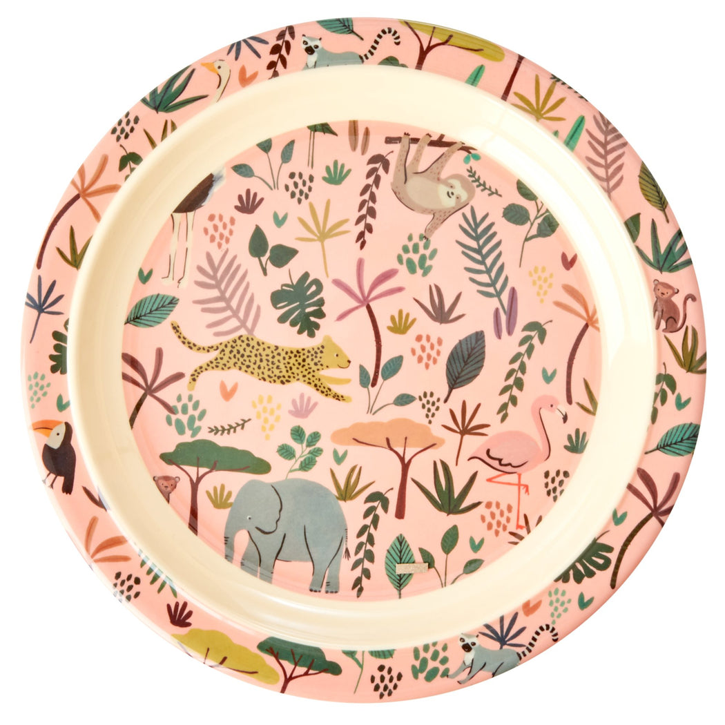 Jungle Animals All Over Kids Lunch Plate Pastel Coral
