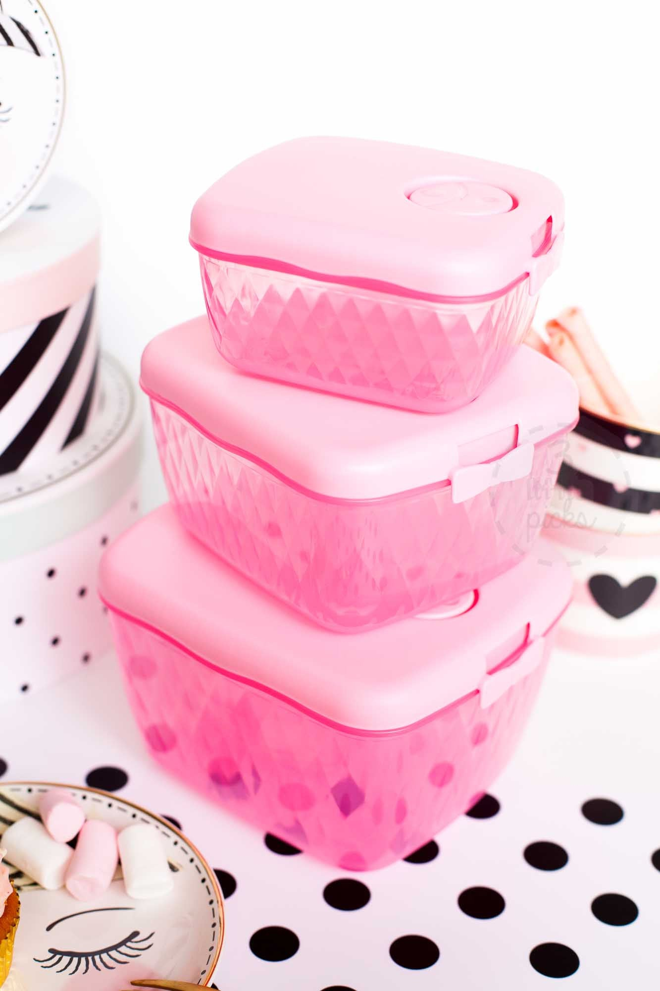 Pink Bow Food Container Set