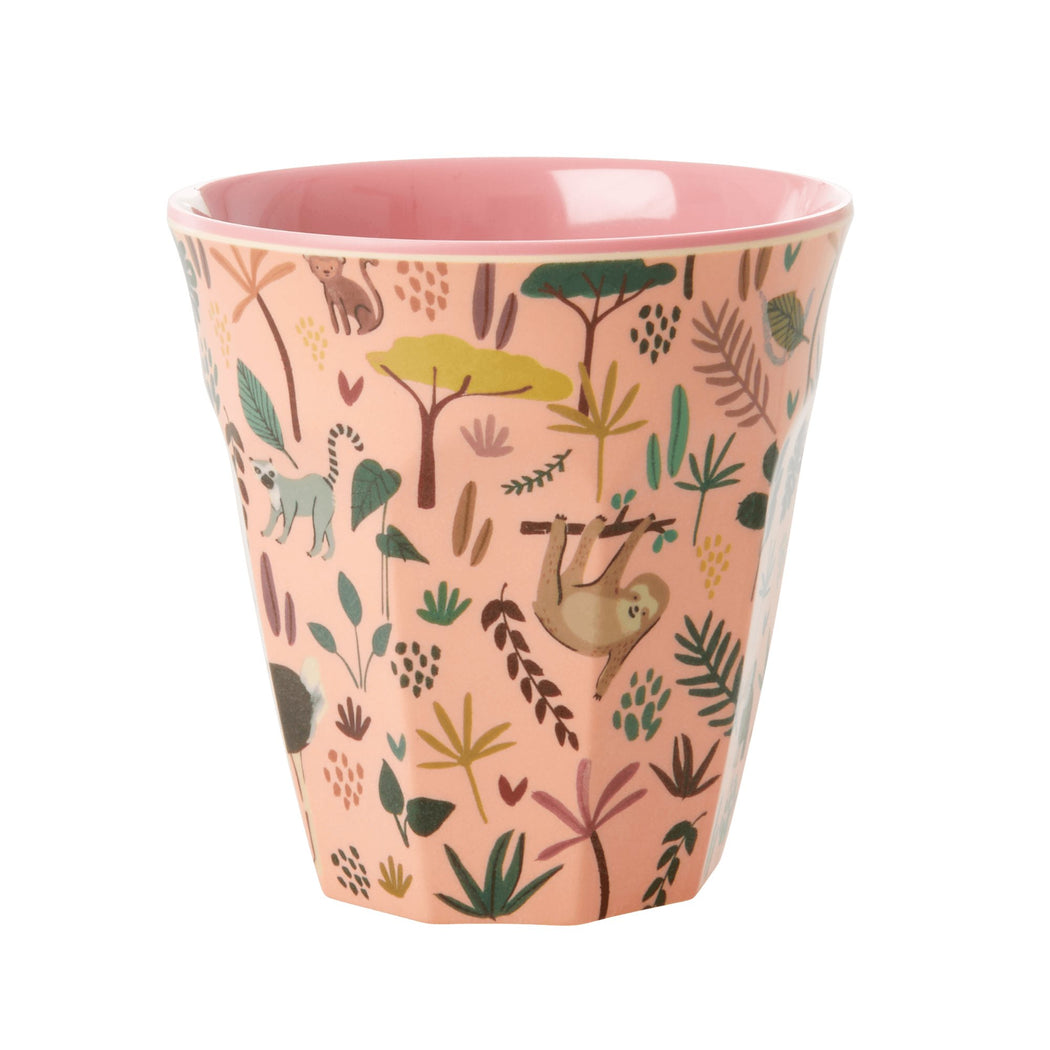 Jungle Animals All Over Medium Kids Cup Pastel Coral