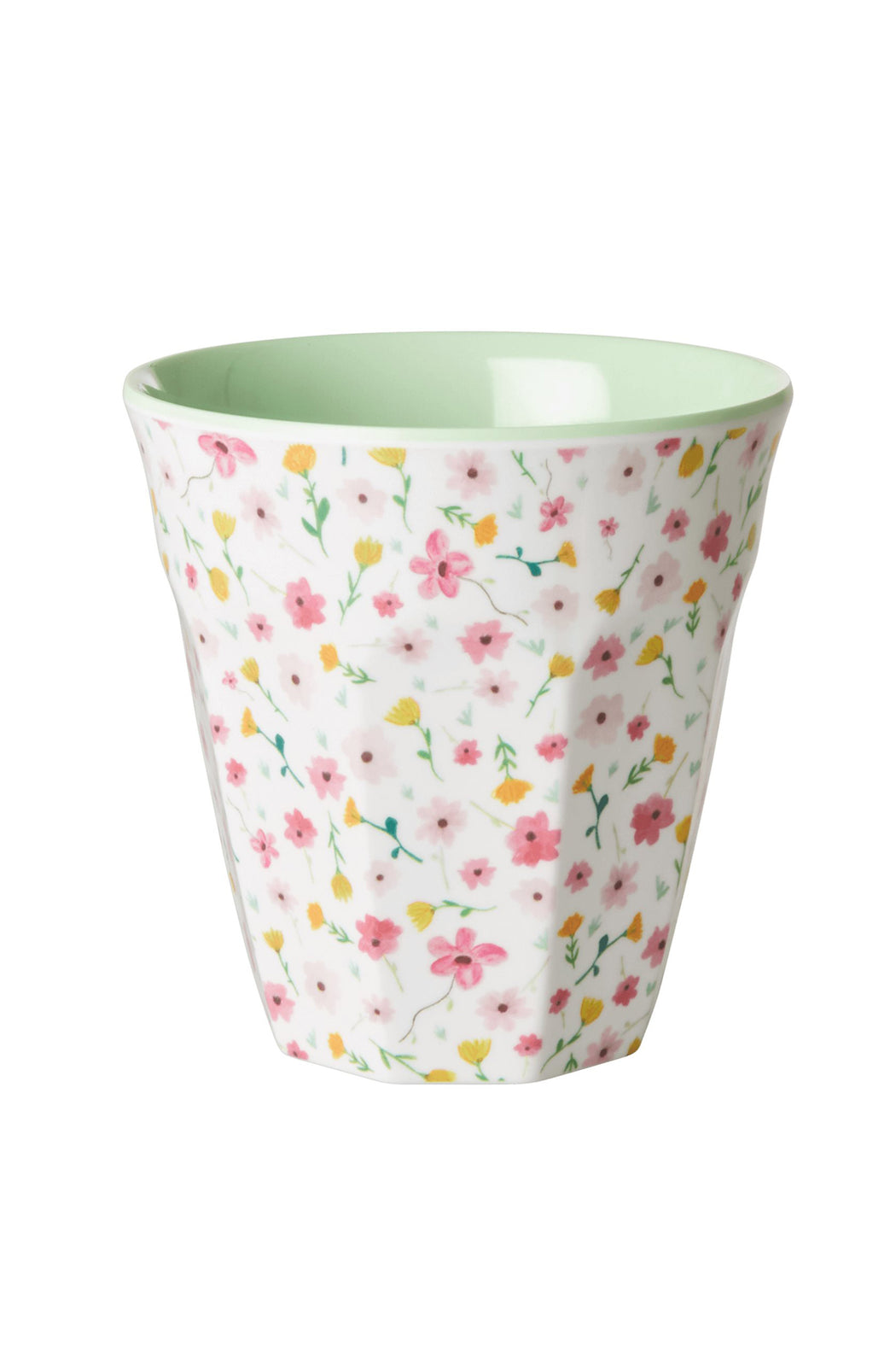 White Small Flowers Two Tone Medium Melamine Cup