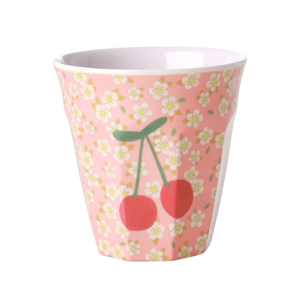 Small Flowers and Cherry Two Tone Medium Cup, Utensils, RICE - 3LittlePicks