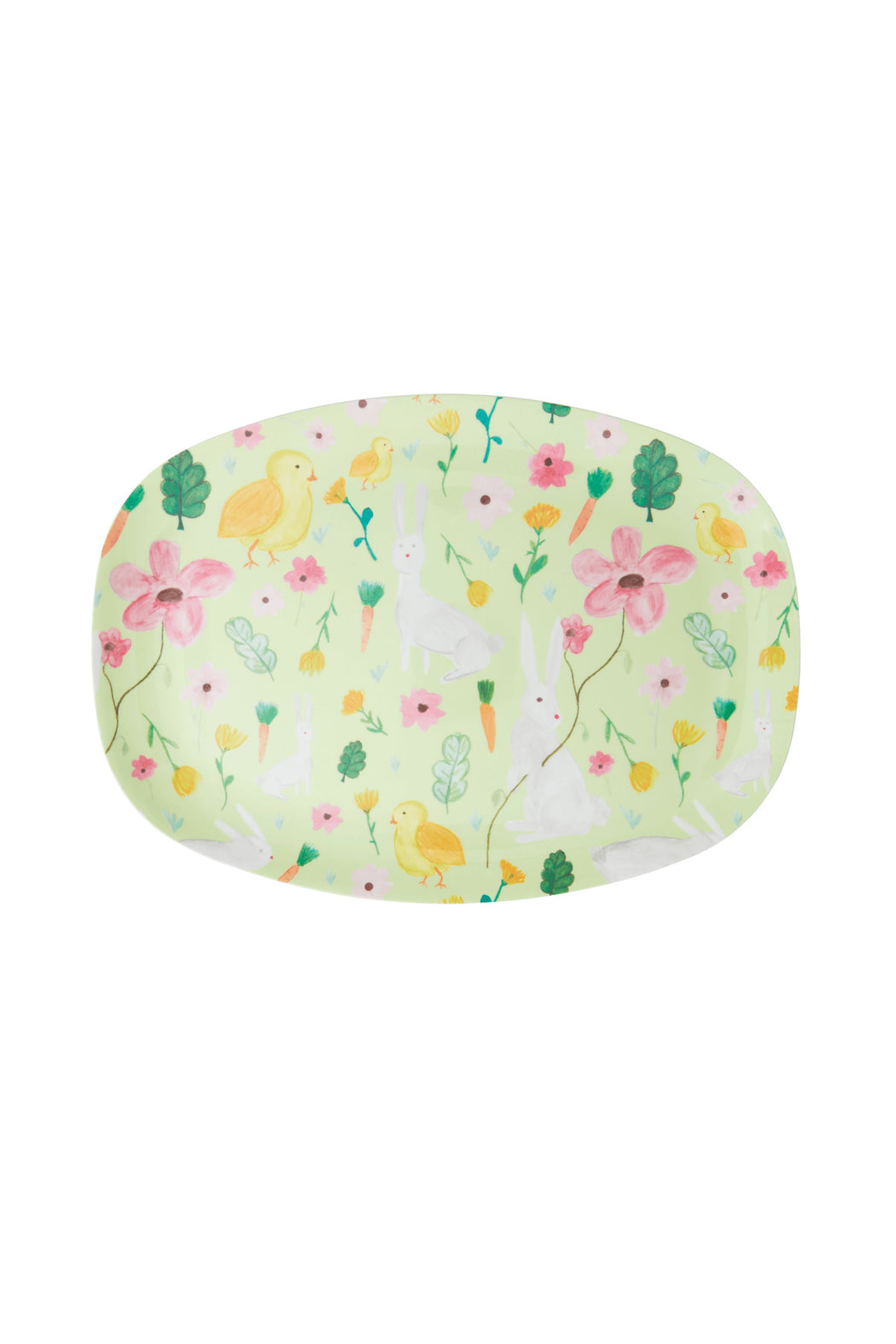 Green Easter Flowers Rectangular Melamine Plate