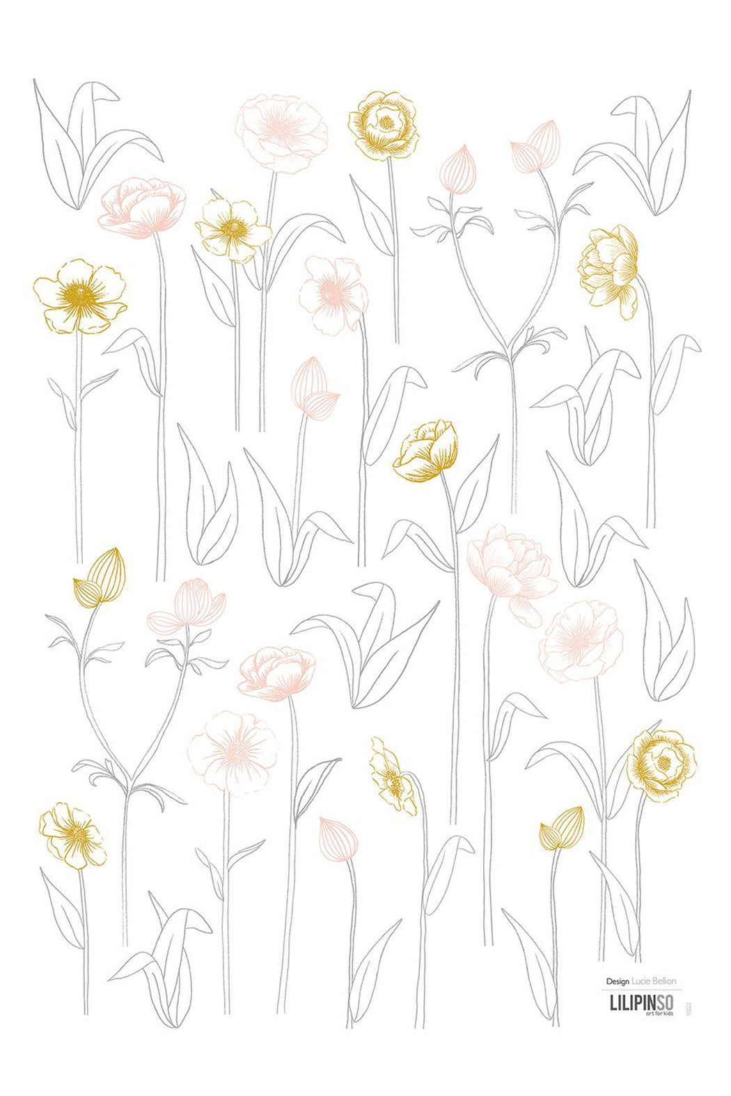 Little Yellow Pink Flowers Vinyl Decal