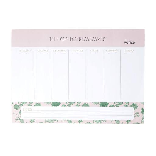 Soft Pink Green Rose Desk Planner