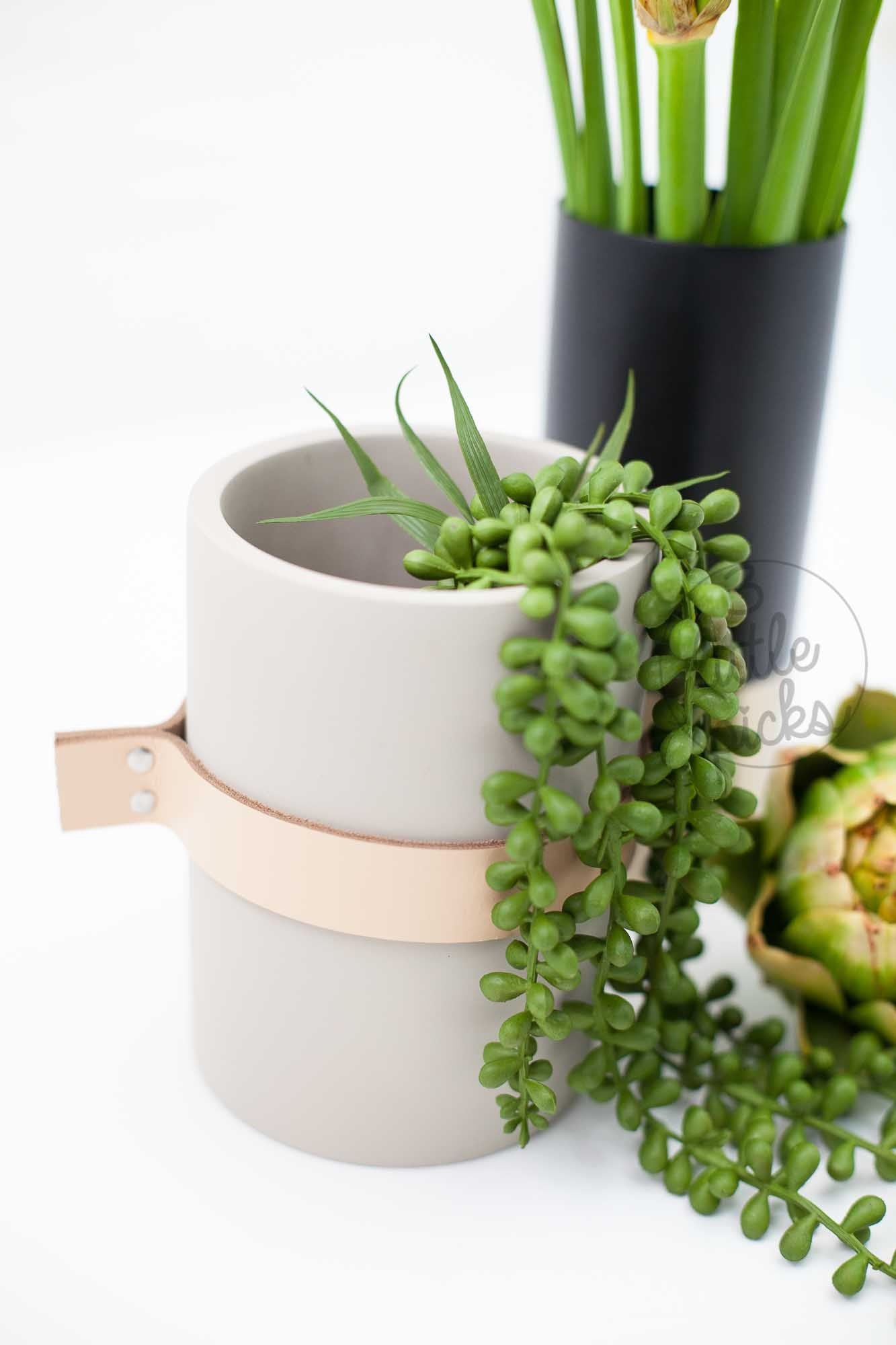 Concrete And Leather Vase
