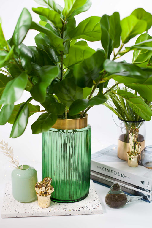 Golden Neck Green Glass Vase