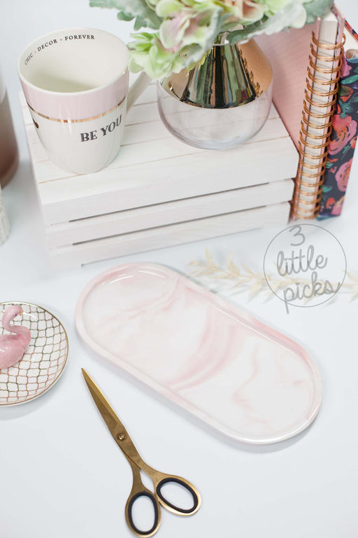 Oval Pink Marble Tray
