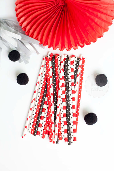 Black and Red Polka Hearts