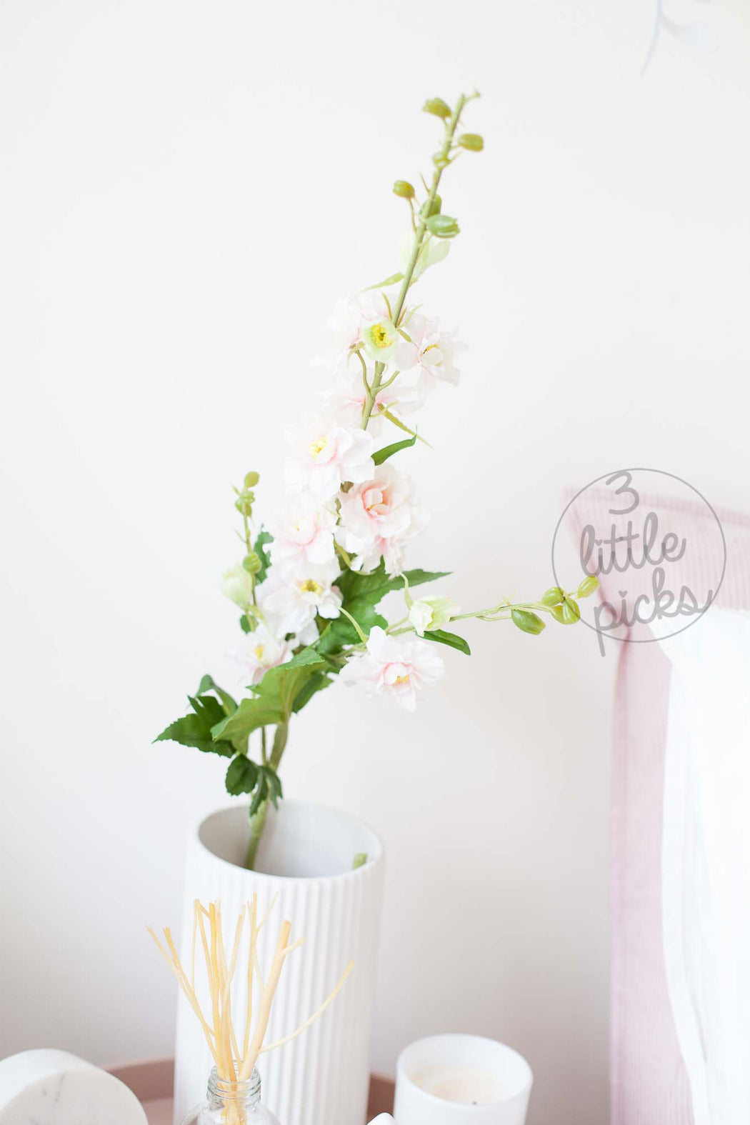 Cream Pink Delphinium, Decor, 3littlepicks - 3LittlePicks