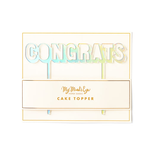 Holographic Congrats Cake Topper