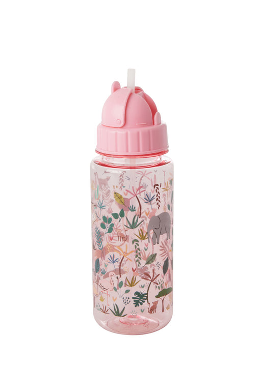 Jungle Animals Plastic Kids Water Bottle Pink